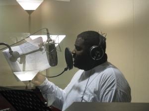 Curt Allen recording a rap
